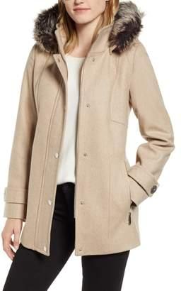 London Fog Faux Fur Hooded Wool Car Coat