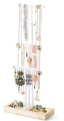 Love-KANKEI Jewelry Tree Stand White Metal & Wood Basic - Adjustable Height Large Storage Necklaces Bracelets Earrings Natural Wood
