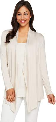 Logo By Lori Goldstein LOGO Layers by Lori Goldstein Draped Front Cardigan with Back Pleats