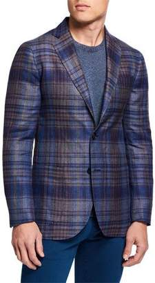 Etro Men's Large-Plaid Hemp/Wool Sport Jacket