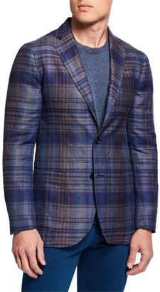 Etro Men's Large-Plaid Hemp/Wool Sport Jacket