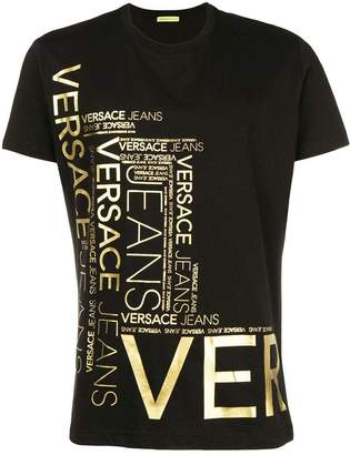 Versace metallic gold printed logo T-shirt
