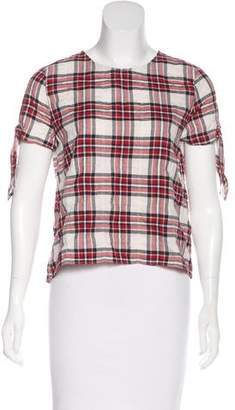 Jenni Kayne Plaid Short-Sleeve Top w/ Tags