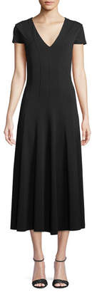 Max Mara Ninfa V-Neck Short-Sleeve A-Line Tea-Length Dress