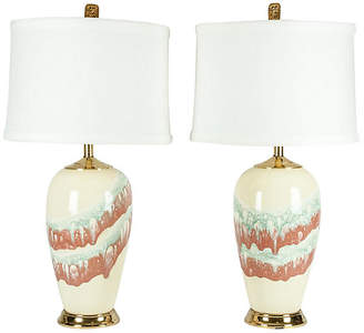 One Kings Lane Vintage Porcelain Table Lamp - Set of 2 - La Maison Supreme
