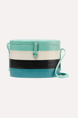 Carolina Herrera Hunting Season Trunk Striped Lizard Shoulder Bag - Turquoise