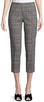 Piazza Sempione Audrey Graphic-Check Side-Zip Capri Pants