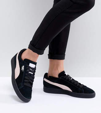 Puma Suede Classic Sneakers In Black With Pink Branding