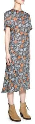 Acne Studios Short Sleeve Floral Print Midi Dress