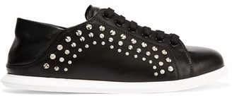 Alexander McQueen - Studded Leather Sneakers - Black $570 thestylecure.com
