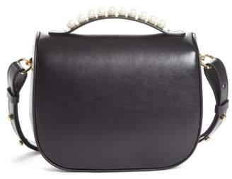 Simone Rocha Leather Box Bag with Imitation Pearl Trim