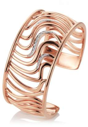 Breuning Rose Gold Plated Sterling Silver Pave White Sapphire Wavy Cutout Cuff Bracelet