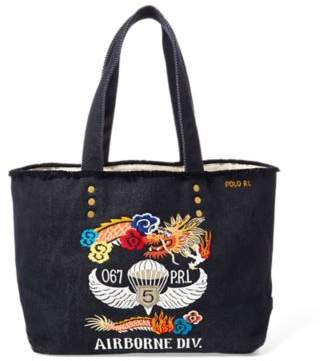 Ralph Lauren Dragon-Embroidered Canvas Tote Indigo Blu One Size