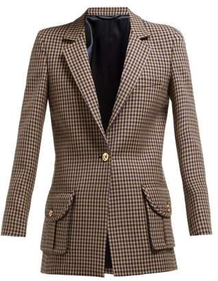 BLAZÉ MILANO Timeless Single Breasted Check Wool Blazer - Womens - Cream Multi