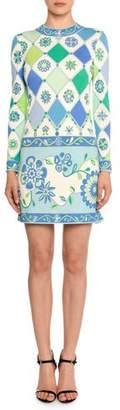 Emilio Pucci Long-Sleeve Round-Neck Wallpaper-Print Sheath Dress