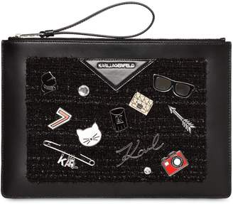 Karl Lagerfeld K/Klassik Lurex Tweed & Leather Pouch