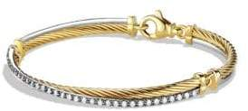 David Yurman Crossover Bracelet with Diamonds in Gold and White Gold