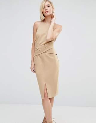 Lavish Alice Wrap Front Plunge Back Detail Midi Dress $94 thestylecure.com
