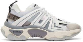 Diesel White and Grey S-Kipper Low Trek Sneakers