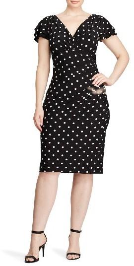 Lauren Ralph LaurenPlus Size Women's Lauren Ralph Lauren Dot Jersey Ruched Sheath Dress
