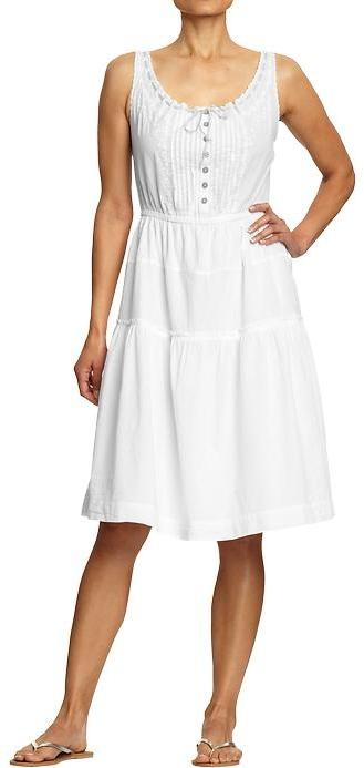 Women's Gathered Tea-Length Dresses