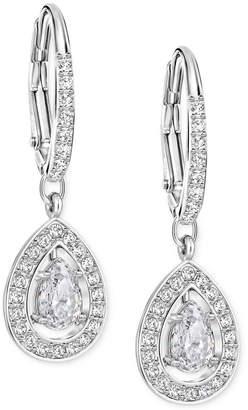 Swarovski Silver-Tone Crystal Pave Drop Earrings