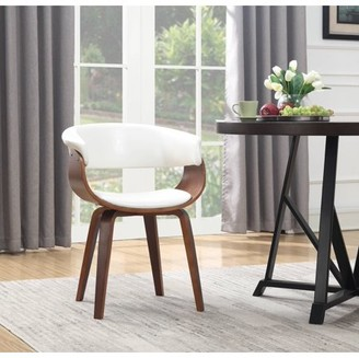 AC Pacific Wood and White Faux Leather Mid-Century 18-Inch Seat Height Dining Chair
