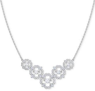 "Swarovski Silver-Tone Crystal Flower 14-7/8"" Collar Necklace"