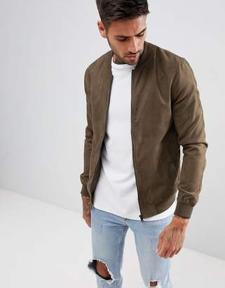 Pull&Bear Faux Suede Bomber In Khaki