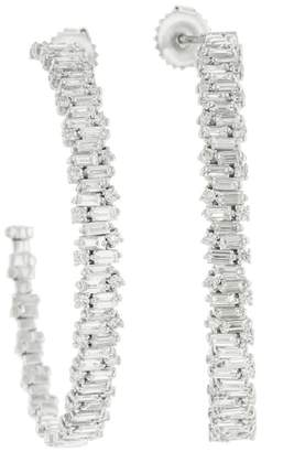 Suzanne Kalan Large Diamond Firework Hoop Earrings - White Gold