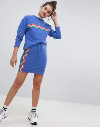 Daisy Street Skirt with Wave Rainbow Stripe