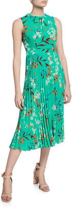 Donna Morgan Pleated Floral Tie-Neck Midi Dress
