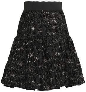 Dolce & Gabbana Pleated Metallic Fil Coupé Twill Skirt