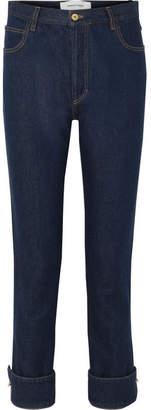 Marques Almeida Marques' Almeida - Embellished High-rise Straight-leg Jeans - Dark denim