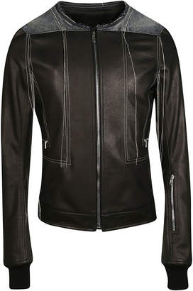 Contrast Stitch Leather Jacket
