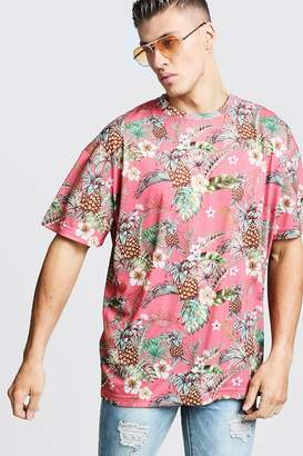 boohoo Oversized Tropical Print T-Shirt