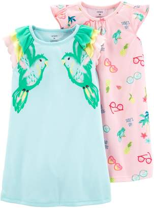 Carter's Toddler Girl 2-pack Tropical Bird Dorm Nightgowns