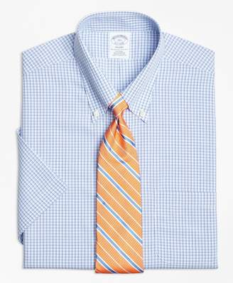 Brooks Brothers Regent Fitted Dress Shirt, Non-Iron Tonal Sidewheeler Check Short-Sleeve