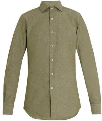Glanshirt Long Sleeved Slim Fit Cotton Shirt - Mens - Green
