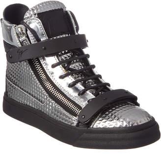 Giuseppe Zanotti London Embossed Metallic Leather High-Top Sneaker