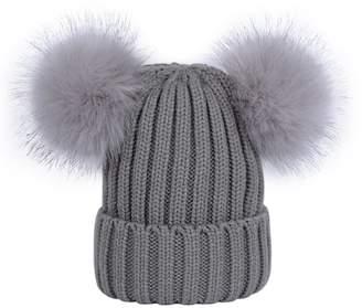 Lau s Womens Double Pom Pom Beanie Hat Ladies Faux Fur Ball Winter Hats 51d0843d37