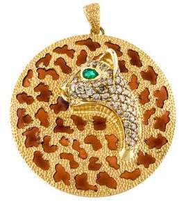 18K Diamond, Emerald & Enamel Panther Pendant
