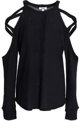 LnA Cold-Shoulder Open-Knit Top