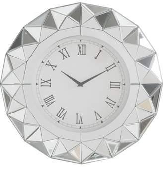 Acme Nyoka Beveled Mirror Frame Wall Clock in Mirrored