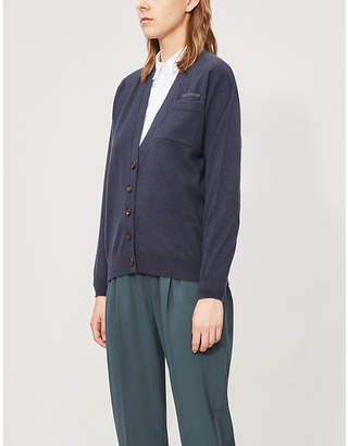 Brunello Cucinelli Beaded-trim cashmere-knit cardigan
