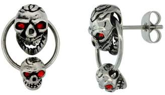 Sabrina Silver Stainless Steel Skull Earrings w/ Red Eyes, 3/4 inch