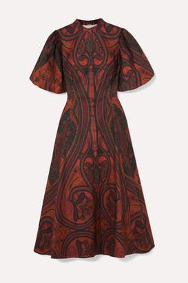 ADAM by Adam Lippes Printed Stretch-cotton Midi Dress - Brick