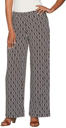 Susan Graver Petite Printed Liquid Knit Pull-On Wide Leg Pants