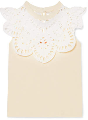 See by Chloe Cotton-jersey And Broderie Anglaise Top - Cream