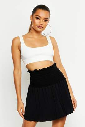 boohoo Shirred Skater Mini Skirt
